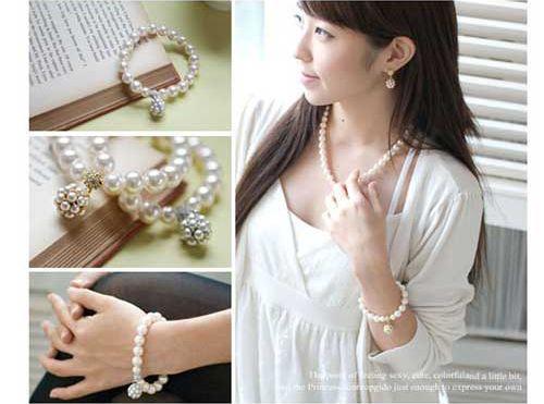 Olivet Charm Fake Pearl Beaded Bracelet