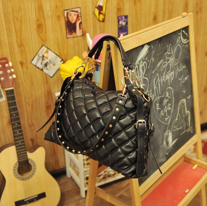Stylish Rhombus Embossing Embellished and Zipper Design Handbag/One-Shoulder Bag For Female