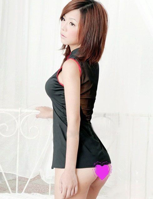 Charming and Sexy Breast Open-Work Frog Design Sleeveless Cheongsam Costume Set For Female