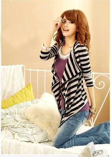 Fashionable Stripe Color Block Long Sleeve Coat For Women