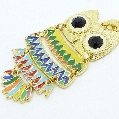 Colorful Style Rhinestone Embellished Owl Shape Alloy  Women's Necklace
