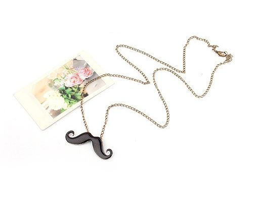 Mix Match Rhinestone Embellished Mustache Shape Pendant Alloy Women's Sweater Chain Necklace