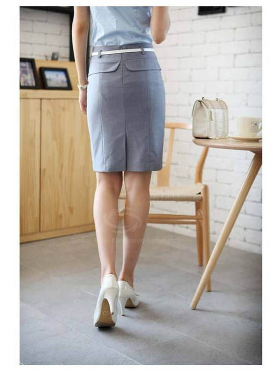 Graceful OL Style Women's Pencil Skirt(With Belt)