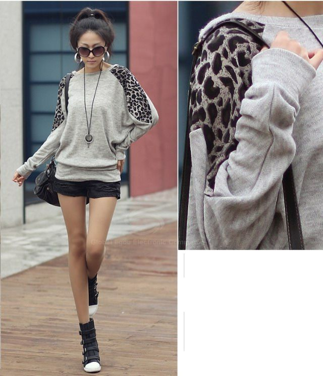 Morden Style Loose-Fitting Leopard Splicing Long Sleeves Women's Long T-Shirts