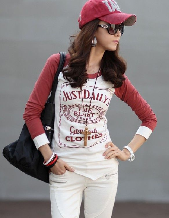 Stylish Scoop Neck Letter Print Color Matching T-Shirt For Women