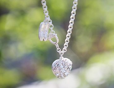 Ballet Shoes and Heart Pattern Rhinestoned Pendent Bracelet