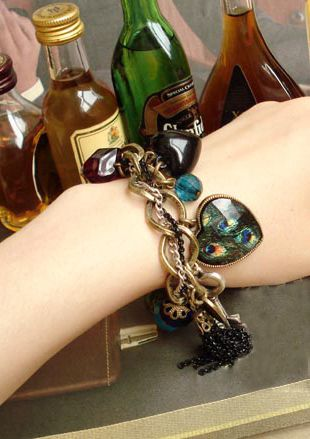 Vintage Peacock Feather Pattern Gemstone Inlaid and Mutielement Bracelet