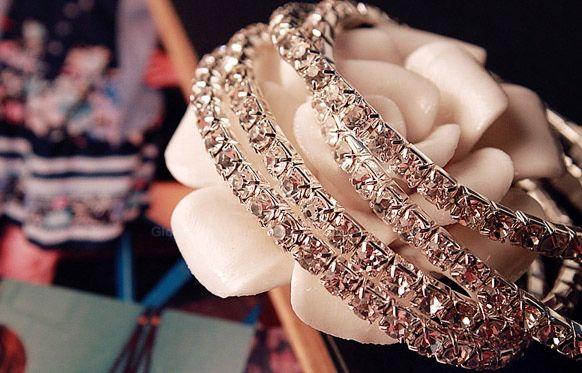 Fake Crystal Embellished Lovers Bracelet