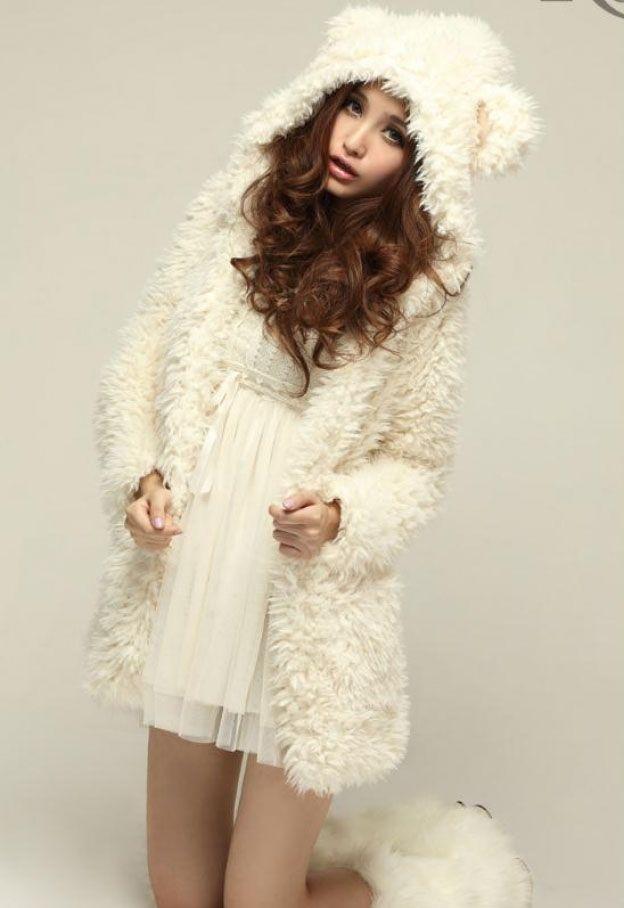 Cute Bear Ear Design Hooded Long Sleeves Women's White Faux Fleece Coat