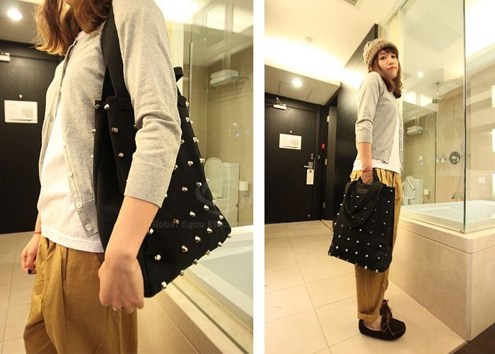 Casual Fashion Solid Color and Rivets Design Women's Tote