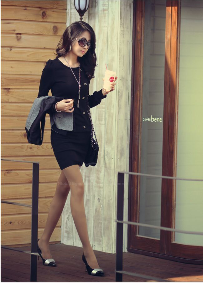 Mini Long Sleeves Sheath Tunic Dress