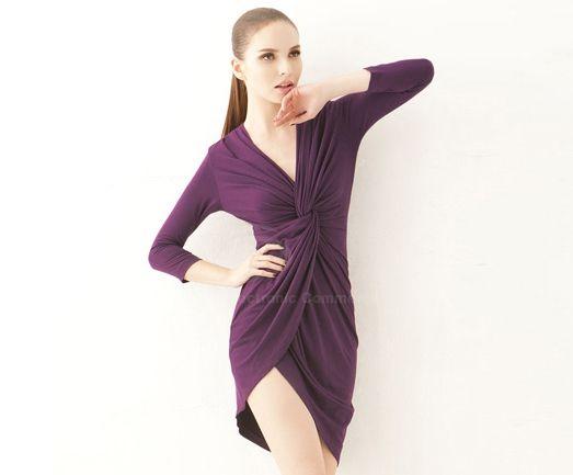 Elegant V-Neck Kink Ruffle Asymmetrical Hem 3/4 Sleeve Women's Party Dress