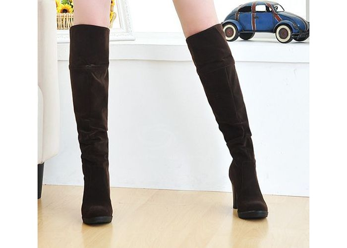 Causal Suede Chunky Heel Design Women's Boots