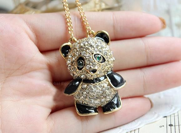 Rhinestone Panda Shape Pendant Necklace
