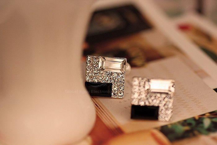 Square Shape Rhinestone Embellished Earrings
