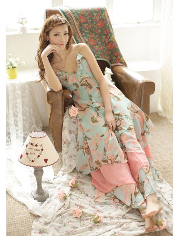 Bohemian Style Spaghetti Strap Lotus Printing High Waist Chiffon Women's Dress