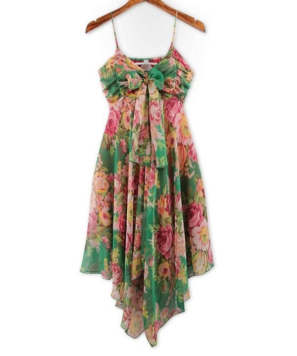 Refreshing Spaghetti Strap Colorful Tiny Floral Print (Without the Tie) Chiffon Women's Dress