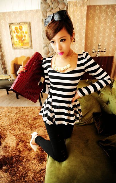 Sophisticated Style Long Sleeves Scoop Neck High Elasticity Cotton Women's T-Shirt