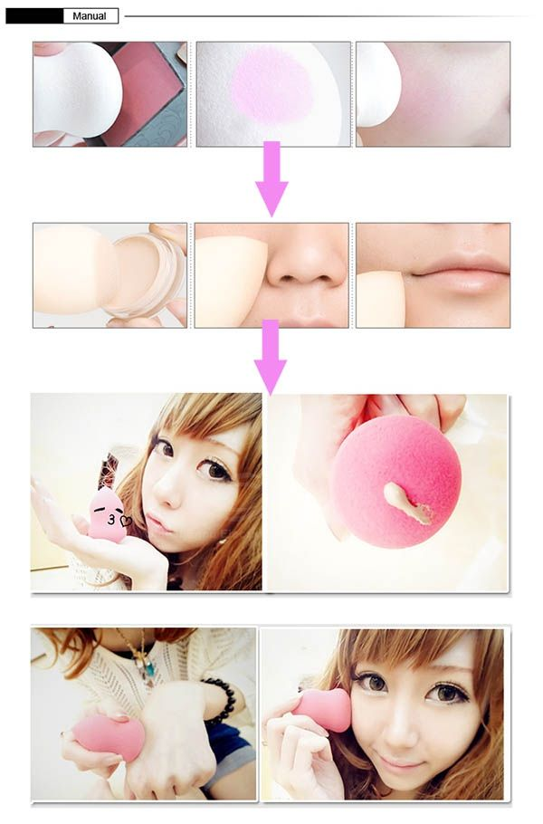 Soft Sponge Powder Cosmetic Puff with Lovely Raindrop Shape for Face Use (Yellow)