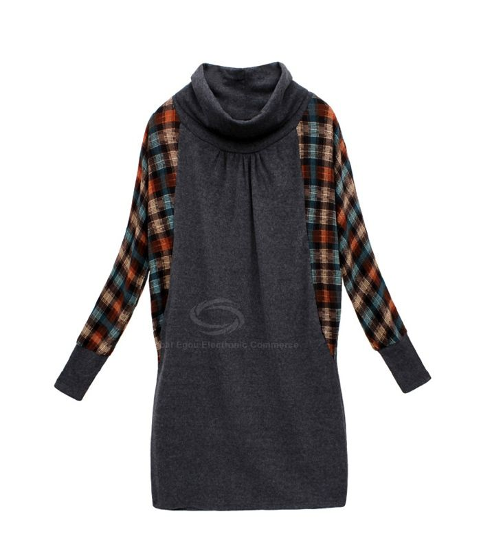 Plus Size Cowl Neck Checked Batwing Sleeve Faux Twinset Women's Dress