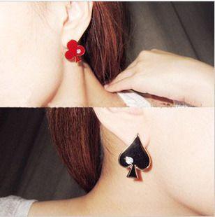 Rhinestone Playing Card Shape Earrings
