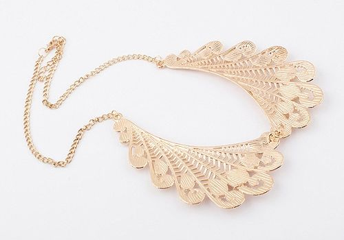 Vintage Openwork Angel Wing Faux Pearl Necklace