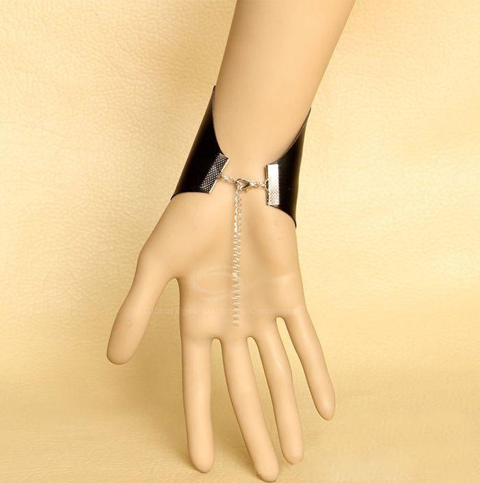 Punk Irregular Faux Leather Embellished Bracelet
