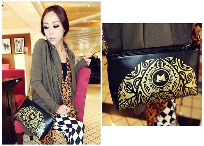 Vintage Style Color Matching and Floral Print Design Women's Shoulder Bag