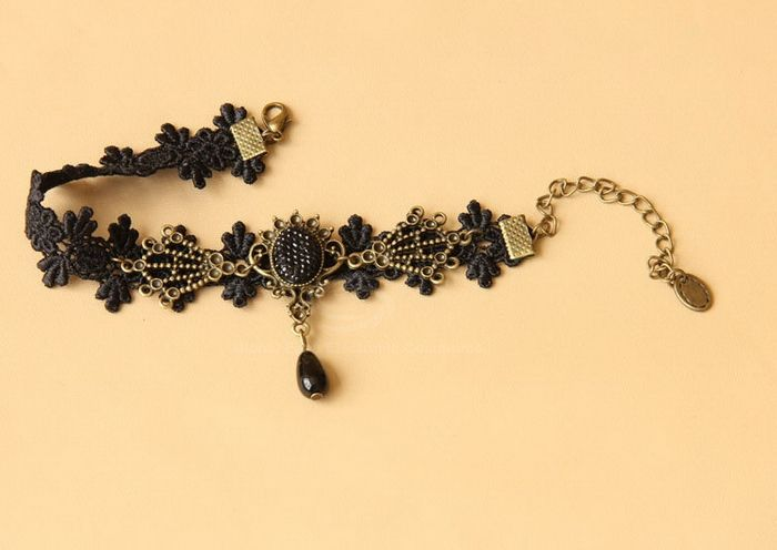 Vintage Style Rhinestoned Alloy and Bead Embellished Women's Lace Anklet
