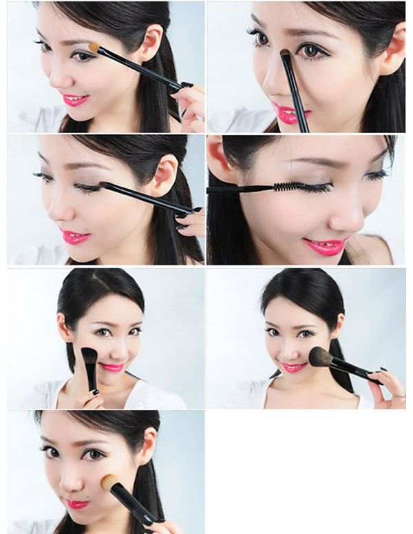 Professional High Quality 7PCS Soft Make-up Brushes Set with Elegant Bag (Black)