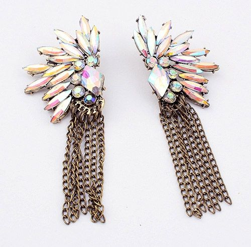 Chic Bohemian Style Diverse Rhinestone Embellished Women's Long Tassels Earrings