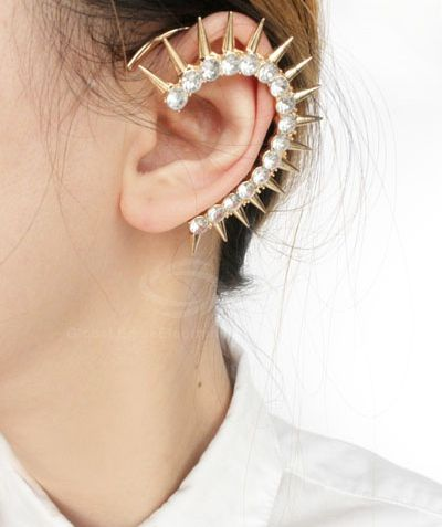 Rhinestone Rivet Ear Cuff