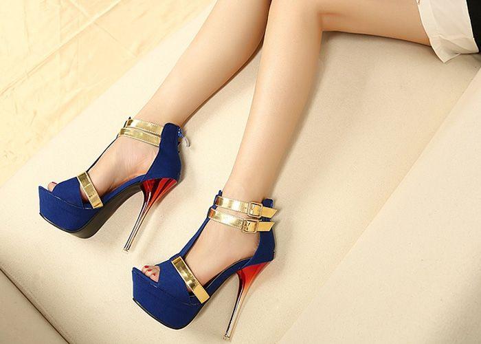 Trendy Style Stiletto Heel and Double Buckle Design Women's Sandals