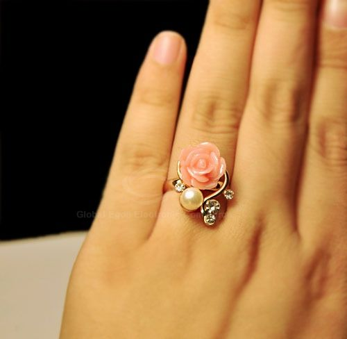 Faux Pearl Rhinestone Flower Ring