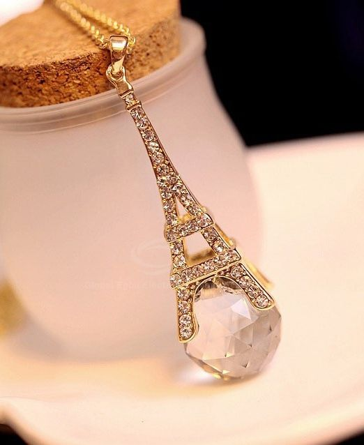 Fashion Rhinestone and Crystal Embellished Eiffel Tower Pendant Alloy Sweater Chain Necklace