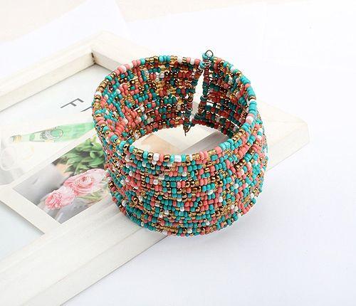 Bohemian Style Multilayerd Beads Opening Bracelets