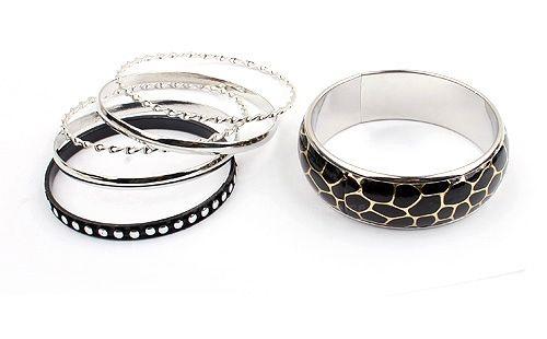 6PCS of Faux Leather Alloy Rivet Embellished Bracelets