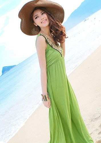 Charming Sequin Embellished Plunging Neck Ruffle Design Solid Color Women's Maxi Dress