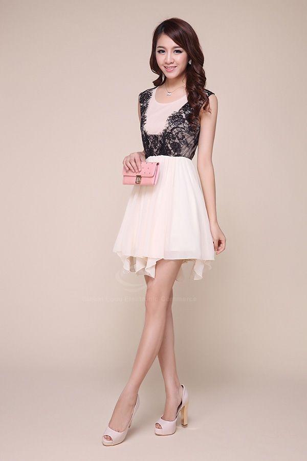 Ladylike Scoop Neck Lace Splicing Irregular Hem Chiffon Women's Dress
