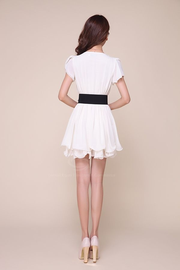 Stylish Scoop Neck Openwork Solid Color Chiffon Women's Dress