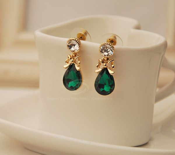 Pair Of Chic Style Bowknot Design Women's Waterdrop Shape Faux Crystal Earrings