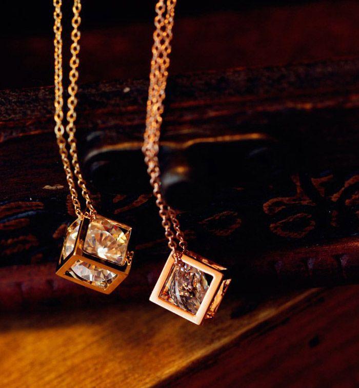 Rhinestone Cube Pendant Necklace