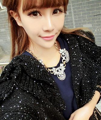 Exaggerated Style Rhinestone Decorated Flower Shape Metal Necklace For Women