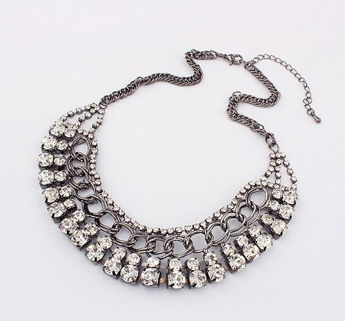 Exaggerated Chic Style Rhinestoned Women's Camber Alloy Choker Necklace