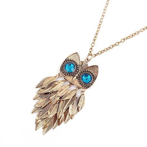 Faux Gem Owl Feather Pendant Necklace