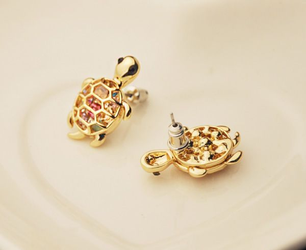 Pair of Rhinestoned Tortoise Shape Earrings