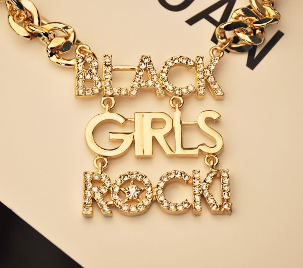 Gorgeous Rhinestoned English Black Girls Rock Design Alloy Necklace For Women