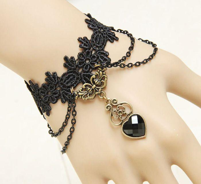 Vintage Heart Pendant Tassels Lace Charm Bracelet