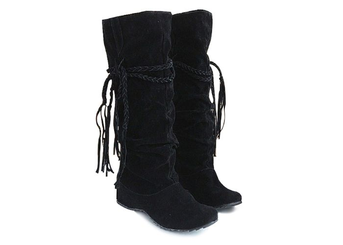 Concise Tassels and Pure Color Design Women's Boots