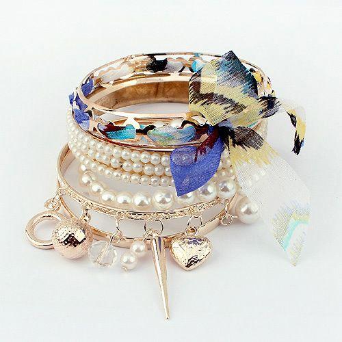 5PCS of Faux Pearl and Bowknot Design Multielement Pendants Bracelets
